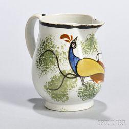 Spatterware Cream Pitcher with Peafowl Decoration