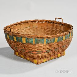 Native American Woven and Painted Ash Splint Basket
