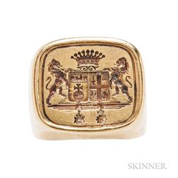 Large 18kt Gold Seal Ring