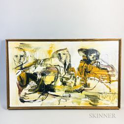 Attributed to Gino Hollander (American, 1924-2015)       Abstract Figural Work