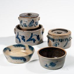 Five Cobalt-decorated Pennsylvania Stoneware Items