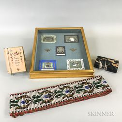 Framed Group of German Valentines, a Beaded Bell Pull, and a Book-form Box and Paperweight.     Estimate $100-150
