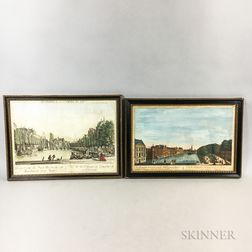 Five Framed 18th Century Cityscape Engravings