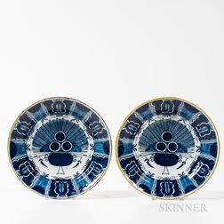 Pair of Dutch Delft Peacock Chargers