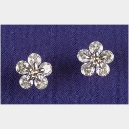 18kt Bi-color Gold and Diamond Stud Earrings