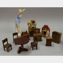 Mixed Group of Wood, Ceramic, Glass, and Metal Dollhouse Items and a Bisque Bather