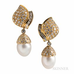 Cartier 18kt Gold, Cultured Freshwater Pearl, and Diamond Day/Night Earrings