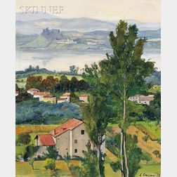 Luigi Lucioni (American, 1900-1988)      View of a Northern Italian Countryside, Possibly the Lake Como Region