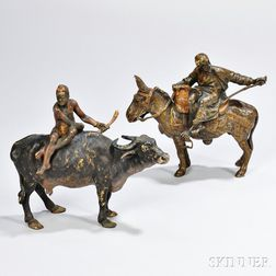 Two Austrian Cold-painted Bronze Riders
