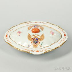 Export Porcelain Armorial Covered Vegetable Dish