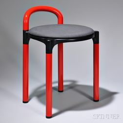 Tabouret, similar to a design by Anna Castelli Ferrieri, mold-injected red plastic with polystyrene black seat cover, unmarked, ht. 22
