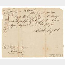 Franklin, Benjamin (1706-1790) Check for £750, Salary as President of Pennsylvania, 25 April 1788.