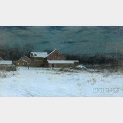 Charles Warren Eaton (American, 1857-1937)      Twilight Landscape with Farm in Snow
