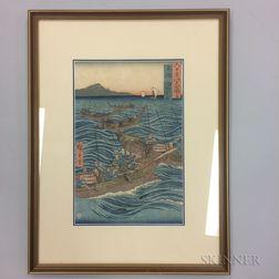 Utagawa Hiroshige (1797-1858), Bonito Fishing at Sea, Tosa Province