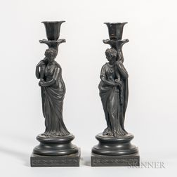 Pair of Wedgwood Black Basalt Candlesticks