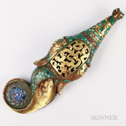 Turquoise-inlaid Gilt-bronze/Tin Dragon Belt Hook