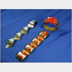 Three Bakelite and Metal Bracelets