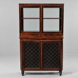 Regency Inlaid Rosewood Display Cabinet