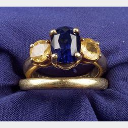 18kt Gold, Sapphire and Yellow Sapphire Ring, B. Kieselstein Cord