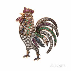 Gold Gem-set Rooster Brooch