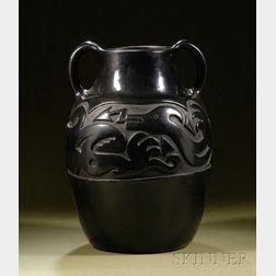 Large Southwest Carved Blackware Pottery Vase