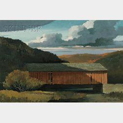 Eric Sloane  (American, 1905-1985)      The Old Covered Bridge in Autumn