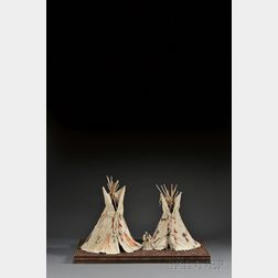 Two Plains Pictorial Hide Tipi Models and Two Hide Dolls