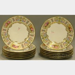 Set of Twelve Hand-painted French Porcelain Floral-decorated Gilt-rimmed Plates