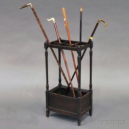 Wooden Stand with Five Assorted Canes or Walking Sticks