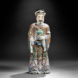 Enameled Porcelain Figure of a High Official