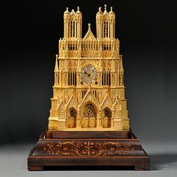 Gilt Reims Cathedral-form Shelf Clock