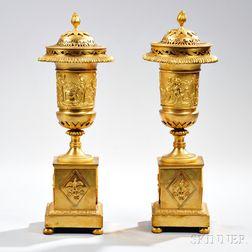 Pair of Empire Ormolu Brûle-parfums