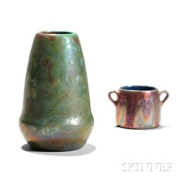 Weller Sicard Pottery Vase and an Iridescent Cup