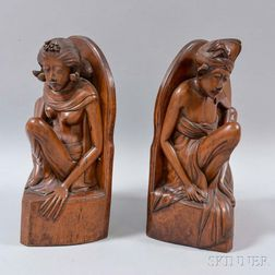 Pair of Carved Wood Figural Bookends