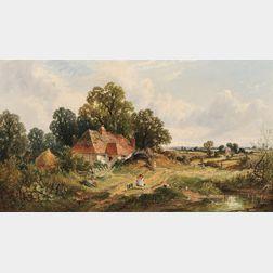 James Edwin Meadows (British, 1828-1888)      A Sussex Farmstead