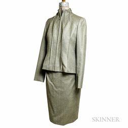 Bill Blass Olive Green Wool Herringbone Suit