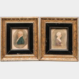 American School, 19th Century      Portraits of Mrs. Samuel Phillips and Samuel Phillips