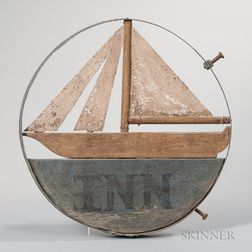 """Painted Wood and Sheet Iron """"Inn"""" Sign with Sailboat"""