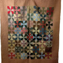 "Appliqued Cotton ""Windmill Blades"" Quilt.     Estimate $200-250"