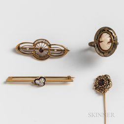 Group of Gold Pins and a Gilt Cameo Locket