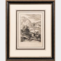 Wenceslaus Hollar (Bohemian, 1607-1677), After Francis Cleyn (German, 1582-1658)      Two Framed Engravings: The Ox and the Frog