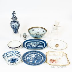 Ten Pottery and Porcelain Items