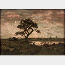 Theodore Etienne Pierre Rousseau (French, 1812-1867)  Pecheur sous un Arbre pres d'une Mare,