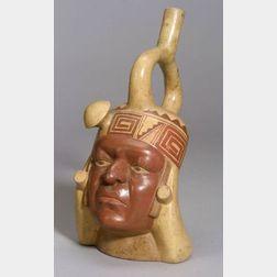 Pre-Columbian Polychrome Portrait Vessel