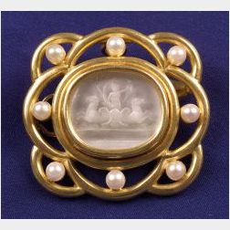 18kt Gold, Cultured Pearl, and Intaglio Brooch, Elizabeth Locke