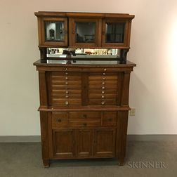 Large Glazed Oak Dental Cabinet