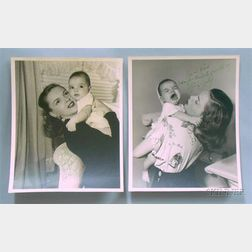 Two Judy Garland Autographed Portrait Photographs Depicting Judy Garland with Infant   Daughter Liza Minnelli