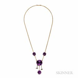 Antique 14kt Gold and Amethyst Necklace