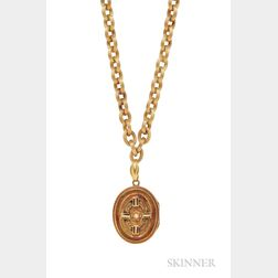 Antique Gold Locket and Chain
