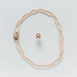 Cultured Pearl Necklace and Ring Suite